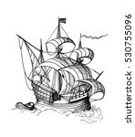 hand drawn sketch of sailing... | Shutterstock . vector #530755096