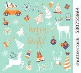 merry christmas set  elements... | Shutterstock .eps vector #530755864