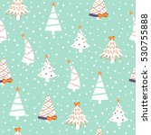 seamless christmas pattern with ... | Shutterstock .eps vector #530755888