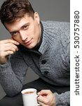 sexy young man in warm knit... | Shutterstock . vector #530757880