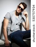 sexy young man in fashion style.... | Shutterstock . vector #530757934