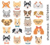 dogs heads emoticons vector set. | Shutterstock .eps vector #530764444