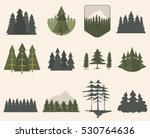 forest tree logo badge vector... | Shutterstock .eps vector #530764636