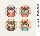 stickers set with cute cartoon... | Shutterstock .eps vector #530766808