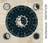zodiac with the sun  moon and... | Shutterstock .eps vector #530767150