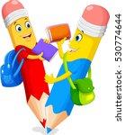 cute pencils cartoon with book   Shutterstock .eps vector #530774644