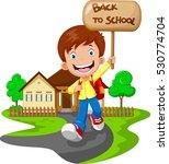 happy boy running while... | Shutterstock . vector #530774704