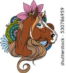 horse portrait in flowers and... | Shutterstock .eps vector #530786959