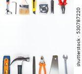 Various tools on a white background - stock photo