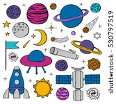 set of hand drawn space icons... | Shutterstock .eps vector #530797519