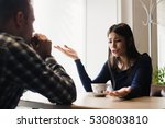young couple arguing in a cafe. ... | Shutterstock . vector #530803810