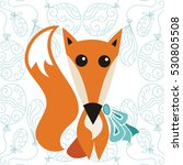 cute cartoon fox. vector... | Shutterstock .eps vector #530805508