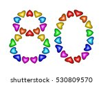 number 80 of colorful hearts on ... | Shutterstock . vector #530809570