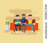 three man sitting on sofa  | Shutterstock .eps vector #530817244