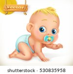cute kid. baby. 3d vector icon. | Shutterstock .eps vector #530835958