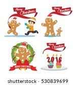 ginger cristmas cartoon set | Shutterstock .eps vector #530839699