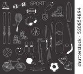 vector set of outline hand... | Shutterstock .eps vector #530854894
