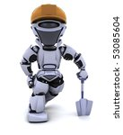 3D render of a construction robot with spade - stock photo