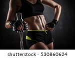 brutal athletic woman pumping... | Shutterstock . vector #530860624