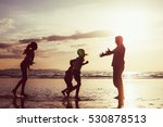 father and children playing on... | Shutterstock . vector #530878513