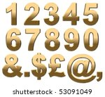 gold numbers on white. 3d render | Shutterstock . vector #53091049