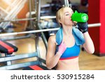 young fit woman with towel and... | Shutterstock . vector #530915284
