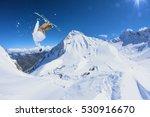 Ski Rider Jumping On Mountains...