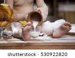 cook a little boy drinking milk | Shutterstock . vector #530922820
