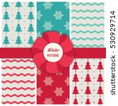 winter collection of seamless... | Shutterstock .eps vector #530929714