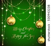 golden christmas balls and...   Shutterstock .eps vector #530943238