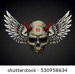 demon head skull and wings