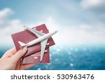airplane passport flight travel ... | Shutterstock . vector #530963476