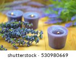 candles with lavender flowers... | Shutterstock . vector #530980669
