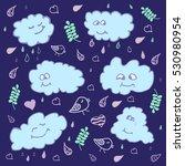 funny blue cartoon vector... | Shutterstock .eps vector #530980954
