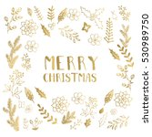 golden and white christmas... | Shutterstock .eps vector #530989750