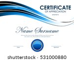 certificate of appreciation... | Shutterstock .eps vector #531000880