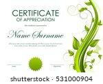 certificate of appreciation... | Shutterstock .eps vector #531000904
