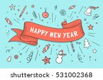 greeting card with red ribbon... | Shutterstock .eps vector #531002368