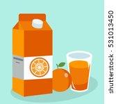 orange juice in glass. carton... | Shutterstock .eps vector #531013450