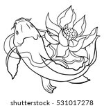 hand drawn outline koi fish and ... | Shutterstock .eps vector #531017278