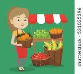 caucasian greengrocer standing...   Shutterstock .eps vector #531025396