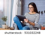young woman holding the tablet... | Shutterstock . vector #531032248