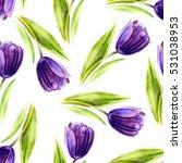 Watercolor Purple Tulip Flower...