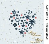 snowflake. heart from gold...   Shutterstock .eps vector #531058399