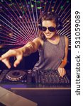 pretty female dj playing music... | Shutterstock . vector #531059089