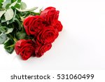 Stock photo red roses bouquet on white background with copy space 531060499