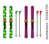 ski and sticks vector... | Shutterstock .eps vector #531063754