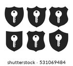 shield with key icon vector set