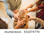 high angle of people toasting a ... | Shutterstock . vector #531074770