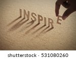 inspire wood word on compressed ... | Shutterstock . vector #531080260